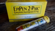 This Oct. 10, 2013, file photo, shows an EpiPen epinephrine auto-injector, a Mylan product, in Hendersonville, Texas. (Mark Zaleski, File/AP Photo)
