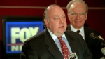 In this Jan. 30, 1996 file photo, Roger Ailes, left, speaks at a news conference as Rupert Murdoch looks on after it was announced that Ailes will be chairman and CEO of Fox News. Former Fox News host Andrea Tantaros has charged in a lawsuit filed Monday, Aug. 22, 2016, she was sexually harassed by former network chief Roger Ailes and other top executives. (Richard Drew, File/AP Photo)