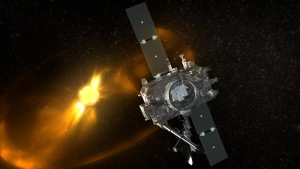 A STEREO spacecraft is shown in this artist's rendering. (NASA)