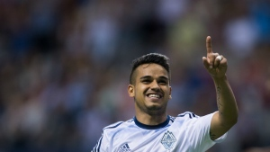 Vancouver Whitecaps' Cristian Techera celebrates his second goal against Sporting Kansas City during second half CONCACAF Champions League soccer action in Vancouver, B.C., on Tuesday, August 23, 2016. (Darryl Dyck / THE CANADIAN PRESS)