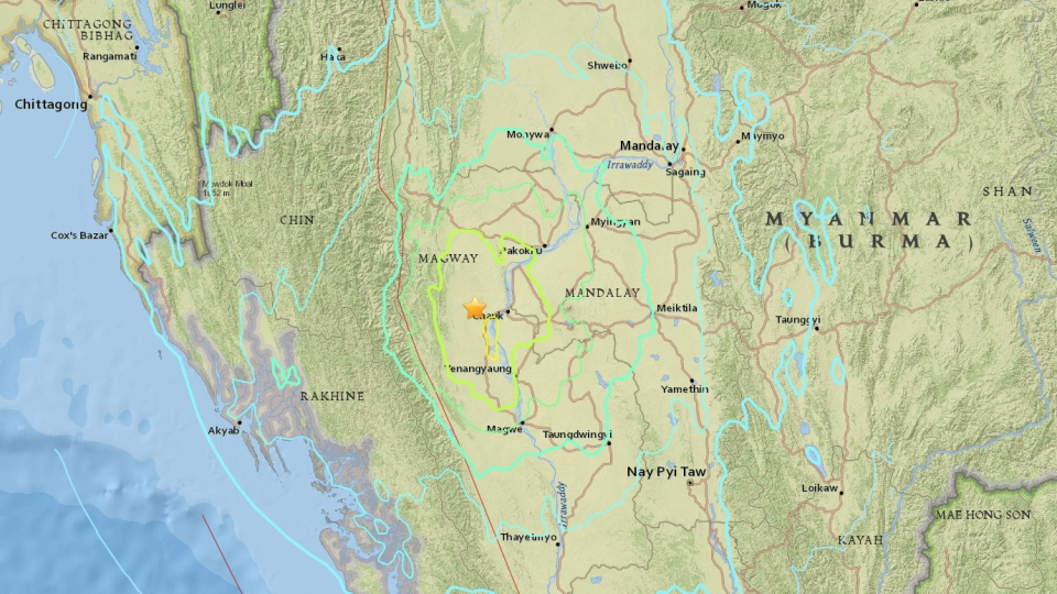 This map provided by USGS shows where a 6.8-magnitude earthquake hit Burma on Wednesday, Aug. 24, 2016.