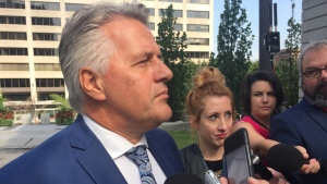 Laurent Lessard talks to reporters ahead of a meeting with Robert Poeti and the Couillard cabinet on Aug. 24, 2016 (CTV Montreal/Maya Johnson)