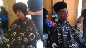 "At an inaugural event called ""Haircuts for Homeless,"" several people received free haircuts at the Evergreen Centre for Street Youth in Toronto. The cuts came courtesy Toronto barber Muayad Al-Qaysi. (Photo: Human Concern International)"