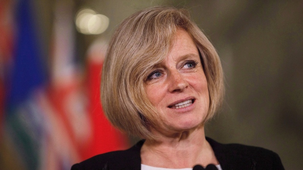 Alberta Premier Rachel Notley speaks during a media availability at the Alberta Legislature Building in Edmonton on May 26, 2016. (THE CANADIAN PRESS / Codie McLachlan)