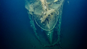 This image provided by Ocean Exploration Trust/Nautilus Live, shows the sunken wreckage of the World War II-era aircraft carrier USS Independence, Tuesday, Aug. 23, 2016, located half a mile under the sea in the Greater Farallones National Marine Sanctuary off the coast near San Francisco, Calif. (Ocean Exploration Trust / Nautilus Live via AP)