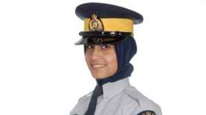 In this photo provided by the RCMP, an RCMP member models a hijab available for use as part of the uniform. There are no RCMP members currently wearing the hijab on the job. (RCMP)