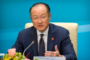 World Bank President Jim Yong Kim speaks during a press conference for the 1+6 Roundtable on promoting economic growth at the Diaoyutai State Guesthouse in Beijing, Friday, July 22, 2016. (AP / Mark Schiefelbein)