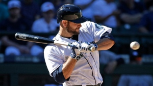 Seattle Mariners' Chris Iannetta backs away from an inside pitch from the New York Yankees during the ninth inning of a baseball game Wednesday, Aug. 24, 2016, in Seattle. (Elaine Thompson/AP Photo)