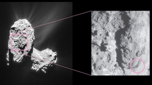 This is an image publicly released by the European Space Agency, ESA, on Thursday Aug. 25, 2016. Rosetta's instruments detected an outburst event from Comet 67P/Churyumov–Gerasimenko on Feb. 19, 2016.   (Rosetta NavCam/ESA via AP)