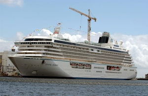 A view of the Crystal Serenity is shown. (AFP / Frank Perry)