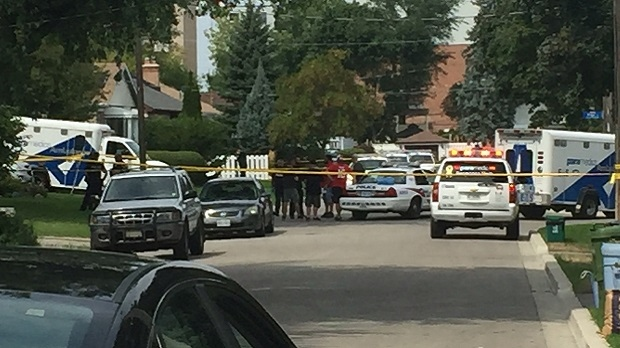 Emergency crews respond to the scene of a fatal incident involving a crossbow in Scarborough Village on August 25, 2016. (Natalie Johnson/CTV Toronto)
