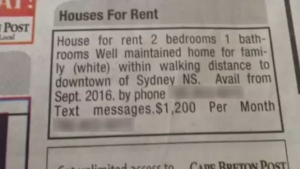 """This ad appeared in the Cape Breton Post on August 24, 2016. Readers quickly turned to social media to condemn the """"racist"""" ad."""