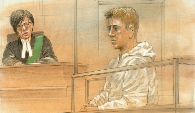 Brett Ryan, 35, of Toronto is shown in this courtroom sketch on Aug. 26, 2016. (John Mantha / CTV News)