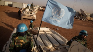 UN peacekeepers arrive at the Niger Battalion Base in Ansongo, in eastern Mali, on Feb. 25, 2015. (Marco Dormino/United Nations via AP)