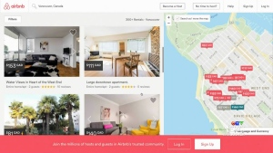 Airbnb listings are seen in Vancouver.