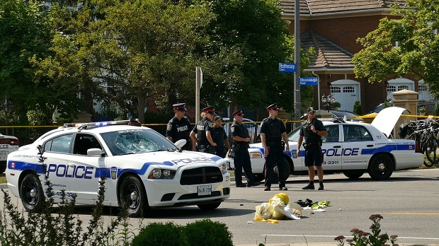 A Peel police officer was struck by a police cruiser in Mississauga on Aug. 28, 2016. (Pascal Marchand)