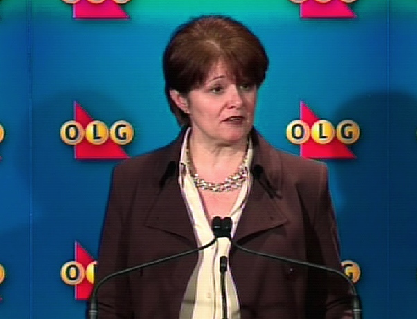 Ontario Lottery and Gaming Corporation CEO Kelly McDougald speaks to reporters during a press conference in Toronto, Wednesday, Feb. 4, 2009.