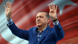 Turkey's President Recep Tayyip Erdogan addresses a rally in Gaziantep, Turkey, Sunday, Aug. 28, 2016. (Yasin Bulbul, Presidential Press Service, Pool via AP)