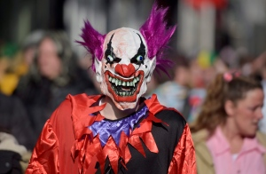 In this file photo from 2015, a man dressed as a horror clown is pictured when thousands of revellers dressed in carnival costumes celebrate the start of the street-carnival in Cologne, Germany, Thursday, Feb. 12, 2015. (AP Photo/Martin Meissner)