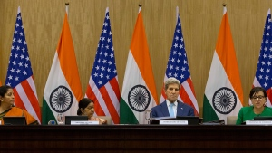 From left, Indian Commerce Minister Nirmala Sitharaman, Indian Foreign Minister Sushma Swaraj, U.S. Secretary of State John Kerry and U.S. Commerce Secretary Penny Pritzker at a joint news conference after conclusion of the second U.S.- India strategic dialogue in New Delhi, India, Tuesday, Aug.30, 2016. (AP / Manish Swarup)
