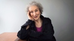 Author Margaret Atwood sits for a portrait while promoting her new books 'Angel Catbird' and 'Hag-Seed' in Toronto on July 28, 2016. (Aaron Vincent Elkaim / THE CANADIAN PRESS)
