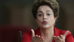 In this Thursday, Aug. 18, 2016 photo, Brazil's suspended President Dilma Rousseff speaks on the process of impeachment during a press conference for foreign correspondents, at the official residence Alvorada Palace, in Brasilia, Brazil. (AP / Eraldo Peres)
