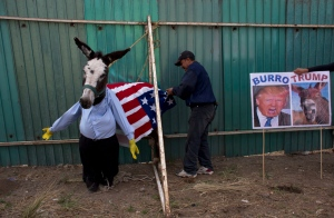 In this May 1, 2016, file photo, a man dresses a donkey to resemble Donald Trump in preparation for the costume competition at the annual donkey festival in Otumba, Mexico state, Mexico. (AP Photo/Rebecca Blackwell, File)