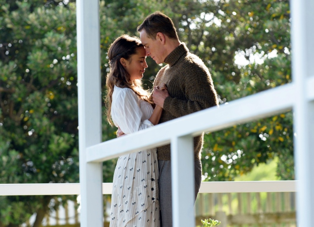 This image released by Dreamworks II shows Alicia Vikander, left, and Michael Fassbender in a scene from, 'The Light Between Oceans.' (Davi Russo / Dreamworks II)