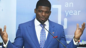 Former Canadien P.K. Subban speaks at MUHC on Wednesday, Aug. 31, 2016.