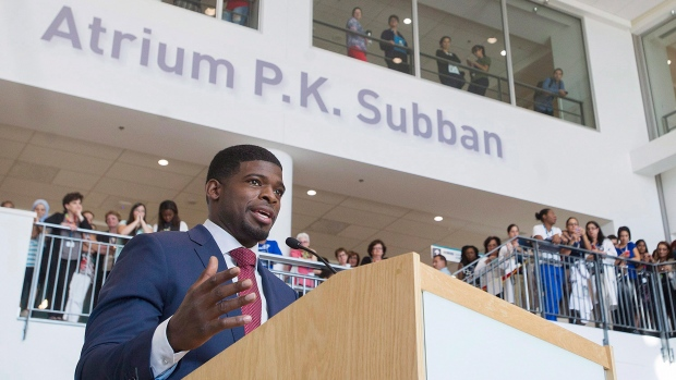Montreal Canadiens defenceman P.K. Subban smiles during a press conference at the Children's Hospital in Montreal, Wednesday, September 16, 2015, where he announced that his foundation would pledge $10-million to the hospital over the next seven years. (Graham Hughes/The Canadian Press)