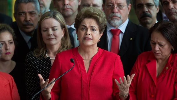 Brazil's suspended President Dilma Rousseff speaks from the official residence of the president Alvorada Palace, in Brasilia, Brazil, Wednesday, Aug. 31, 2016. (AP / Leo Correa)