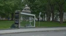 Poop in bus shelter