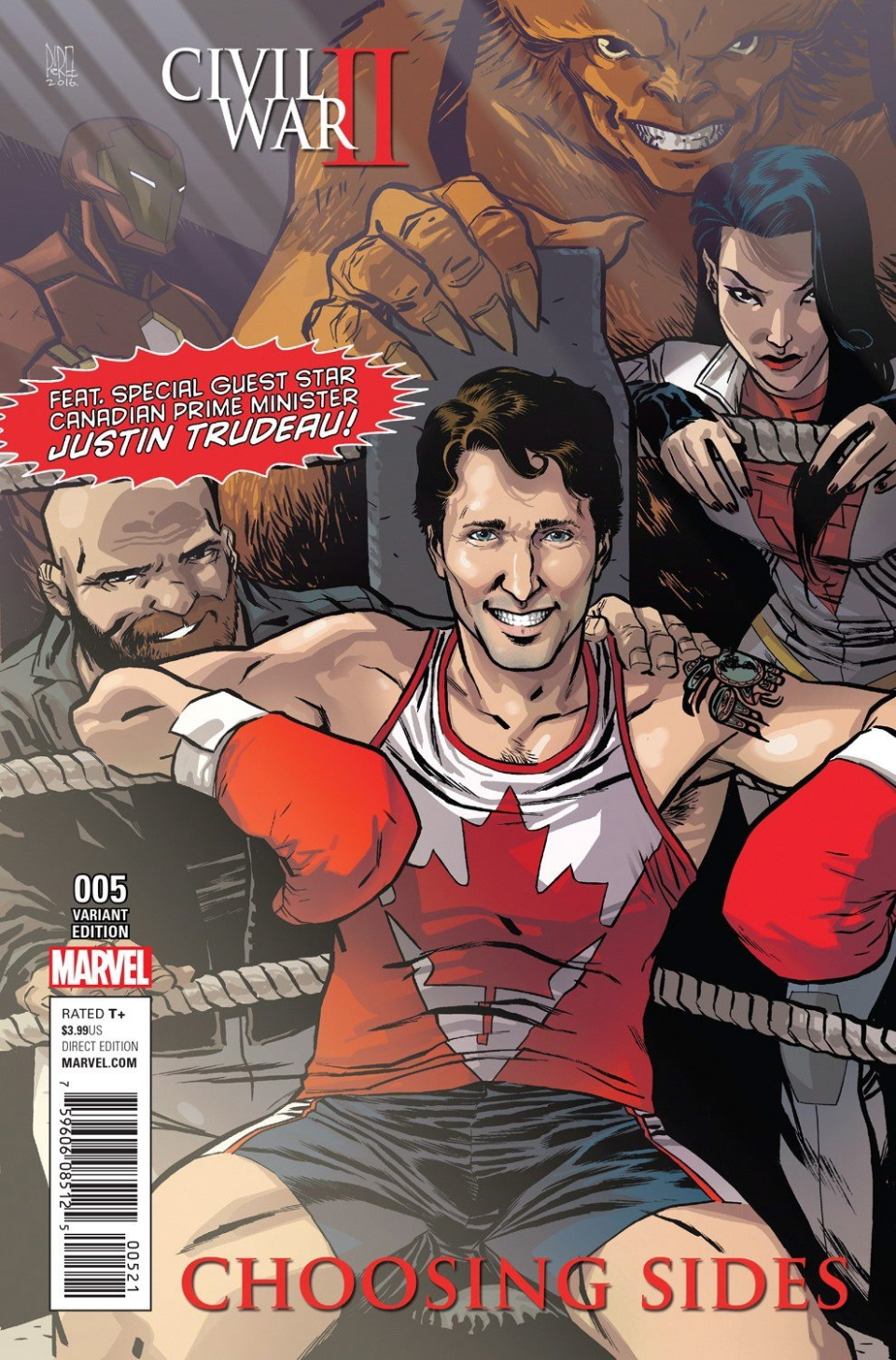 The variant cover, provided by Marvel, of the comic Civil War II: Choosing Sides #5, featuring Prime Minister Justin Trudeau surrounded by the members of Alpha Flight: Sasquatch, top, Puck, bottom left, Aurora, right, and Iron Man in the background is shown in a handout photo. Cover art by Ramon Parez. (THE CANADIAN PRESS / HO)