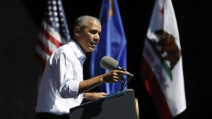 President Barack Obama speaks during the 20th annual Lake Tahoe Summit at the Lake Tahoe Outdoor Arena at Harveys, in Stateline, Nev., Wednesday, Aug. 31, 2016, about the environment and climate change. (AP / Carolyn Kaster)