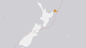 An earthquake and aftershocks are shown on a map of New Zealand on Thursday, Sept. 1, 2016. (U.S. Geological Survey)