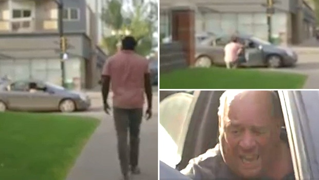 A video posted online by Jesse Lipscombe shows an incident where an individual in a car shouted racial slurs, while a PSA was being shot. Stills taken from video.