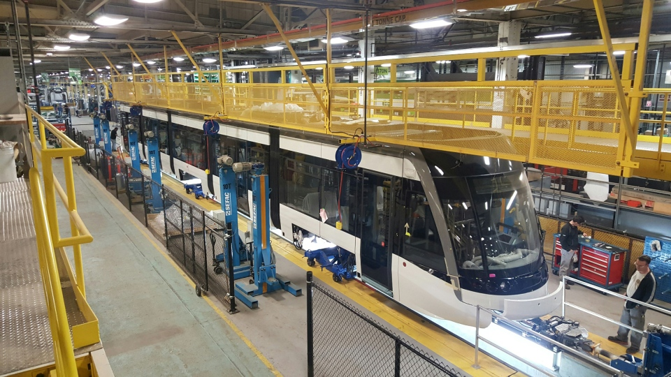 A test vehicle assembled as part of the order for light rail vehicles for Waterloo Region's Ion system is seen at a Bombardier facility in Thunder Bay. (Bombardier)