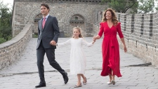 Trudeau family on the Great Wall of China