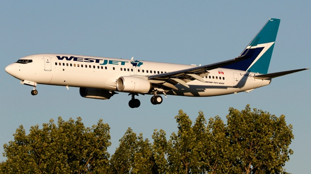 A WestJet Airlines Boeing 737 (737-800) jetliner lands in Calgary, Alberta on July 21, 2016. THE CANADIAN PRESS IMAGES/Larry MacDougal