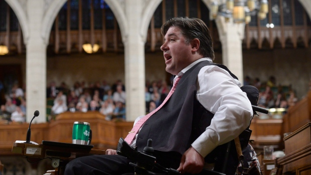 Veterans Affairs Minister Kent Hehr answers a question during Question Period in the House of Commons on June 16, 2016. (Adrian Wyld / THE CANADIAN PRESS)