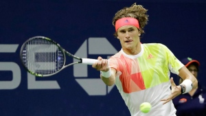 Alexander Zverev, of Germany, returns a shot to Daniel Evans, of Britain, during the U.S. Open tennis tournament, Thursday, Sept. 1, 2016, in New York. (AP /Darron Cummings)
