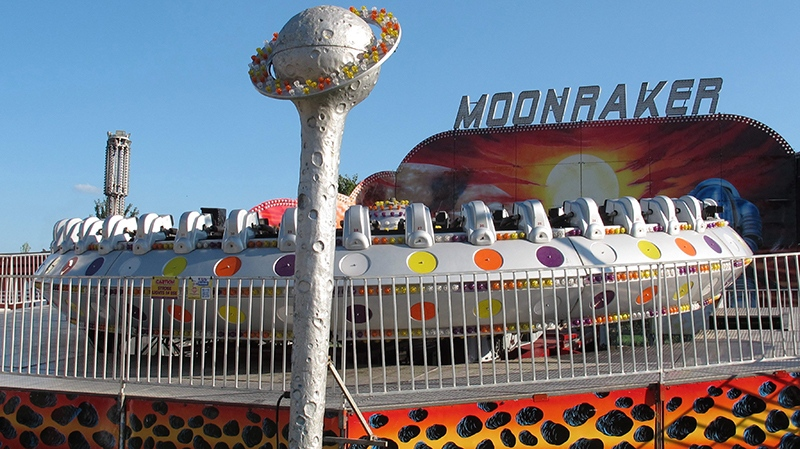 The Moonraker ride sits idle after several riders were taken to hospitals after it shut down at the Delta Fair in Memphis, Tenn., on Saturday, Sept. 3, 2016. (AP Photo/Adrian Sainz)