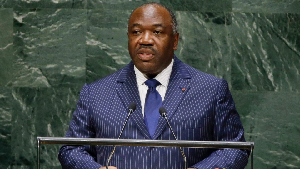 File photo taken Thursday, Sept. 25, 2014, as Gabon President Ali Bongo Ondimba addresses the 69th session of the United Nations General Assembly at the United Nations headquarters. (Frank Franklin II, File/AP Photo)