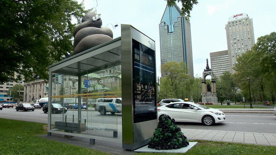 Large Poop Sculpture Adorns Montreal Bus Shelter As Part