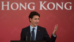 Canadian Prime Minister Justin Trudeau delivers the keynote address to the Canadian Chamber of Commerce in Hong Kong luncheon in Hong Kong, Tuesday September 6, 2016. (Adrian Wyld/The Canadian Press)