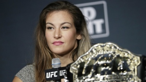 Miesha Tate speaks during a UFC 200 mixed martial arts news conference in Las Vegas on July 6, 2016. (AP / John Locher)