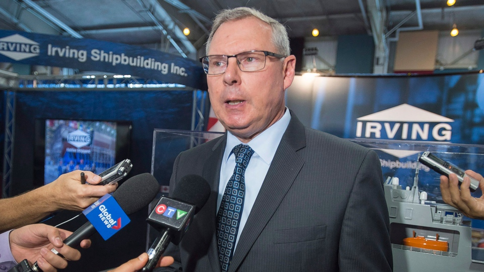 Kevin McCoy, president of Irving Shipbuilding Inc., talks with reporters at DEFSEC Atlantic, the Canadian Defence Security and Aerospace Exhibition Atlantic, in Halifax on Wednesday, Sept. 7, 2016. (THE CANADIAN PRESS/Andrew Vaughan)