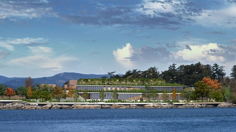 A redesigned rendering of a sewage plant recommended to be built at Esquimalt's McLoughlin Point has a smaller footprint, is set back from the shore, and includes more green space. Sept. 7, 2016. (CRD)