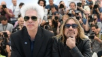 "U.S. director Jim Jarmusch (L) and singer Iggy Pop, here in Cannes for ""Gimme Danger"" © AFP / ANNE-CHRISTINE POUJOULAT"