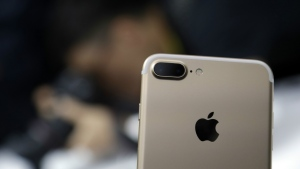 The dual camera feature on an iPhone 7 Plus is shown during an event to announce new Apple products on Wednesday, Sept. 7, 2016, in San Francisco. (AP / Marcio Jose Sanchez)